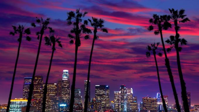 Downtown LA. Los Angeles sunset colorful skyline California.