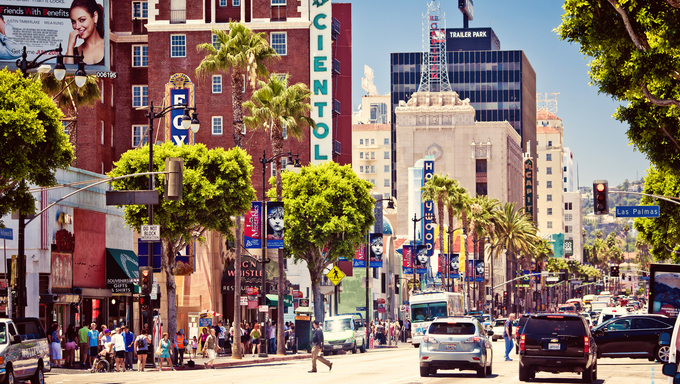 View of Hollywood Boulevard in Hollywood, Los Angeles, CA. In 1958, the Hollywood Walk of Fame was created as a tribute to artists working in the entertainment industry.