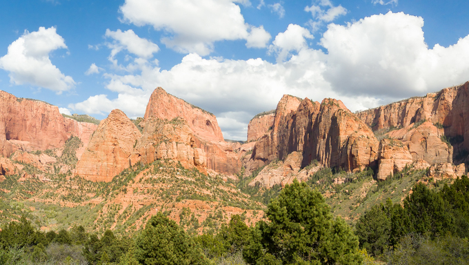 Panoramic view in the Kolob Canyons District of Utah's Zion National Park including Timber Top Mountain, Horse Ranch Mountain, Pariah Point, Beatty Point, and Nagunt Mesa.