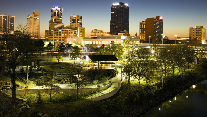 Night in Little Rock, Arkansas.