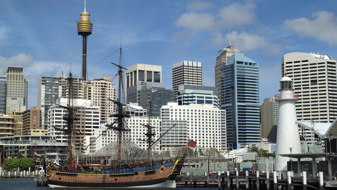 Australia, Sydney, replica of HMS Endeavour in Darling Harbour.