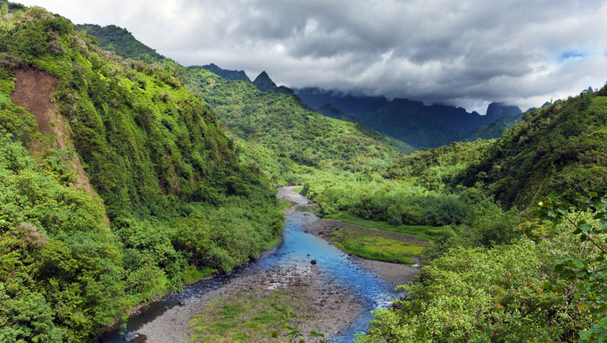 Tahiti.Tropical nature and mountain river
