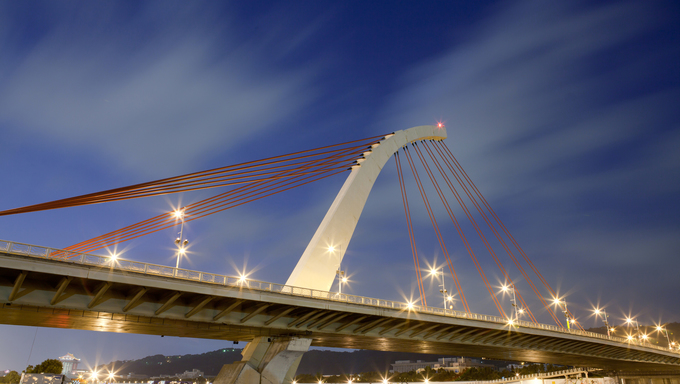 Bridge night scene with sky in Taiwan.