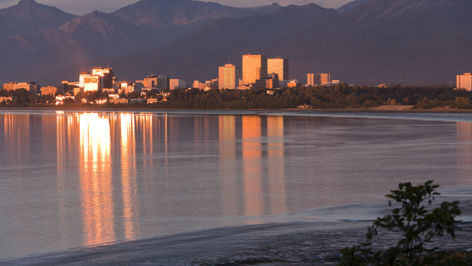 A view of the skyline in Anchorage.