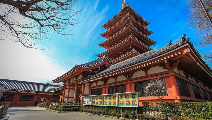 Pagoda in Asakusa temple Tokyo, Japan.