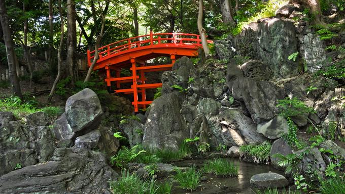 Beautiful Tsutenkyo Bridge in the Koishikawa Korakuen Garden in Tokyo, Japan.