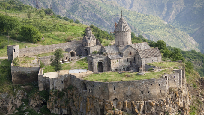 Tatev monastyr in Armenia, Aerial view. Summer day