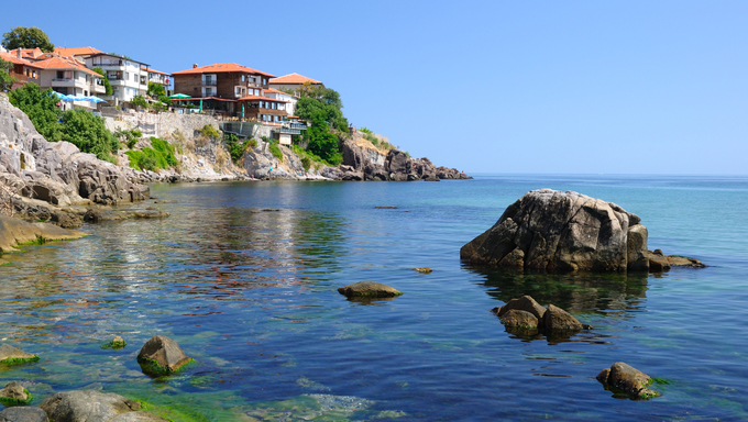 Black Sea coast in ancient town of Sozopol, Bulgaria.