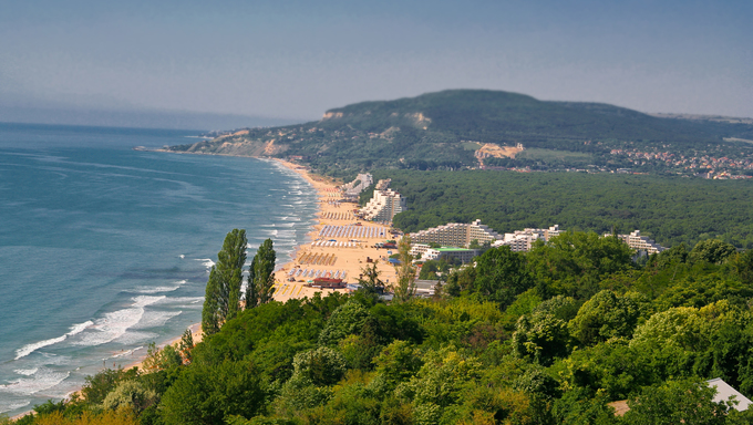 Panoramic view of the bay; Golden Sands, Bulgaria.