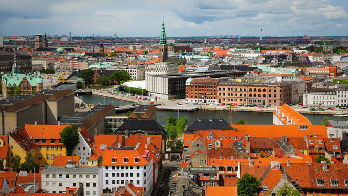 kind from the roof of spire of The Church of Our Saviour in Copenhagen, Denmark
