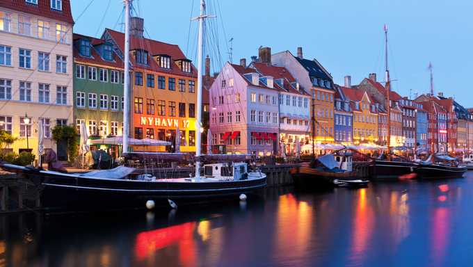 Scenic evening panorama of Nyhavn in Copenhagen, Denmark
