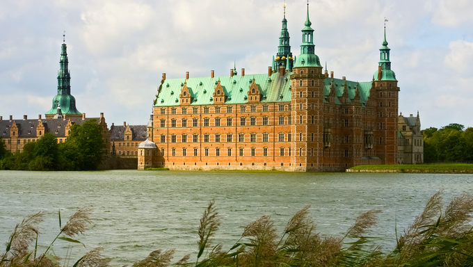 A view of Frederiksborg castle in Hellerod, Denmark
