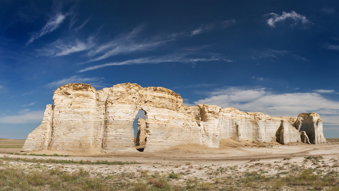 Monument Rocks limestone formations in Kansas.