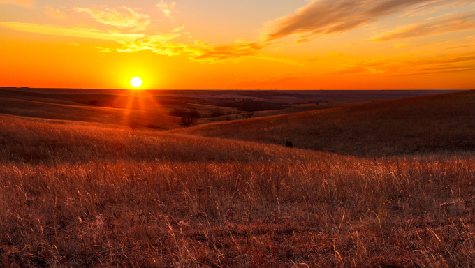 A view of the sunset in the Flint Hills just outside of Alma, Kansas.