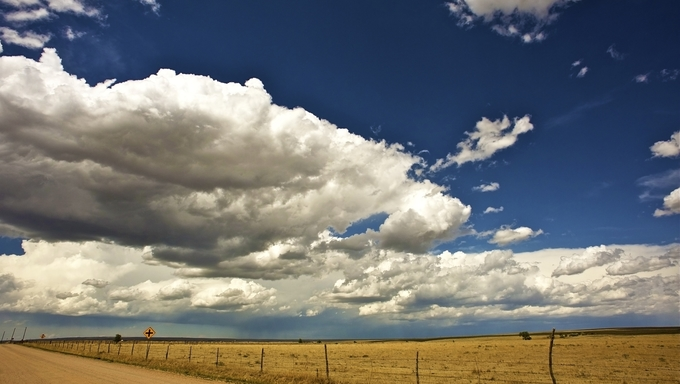 Western Great Plains. Colorado-Kansas Border. Hot Summer Day.