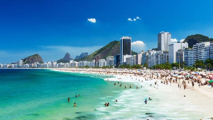 View of Copacabana beach in Rio de Janeiro.