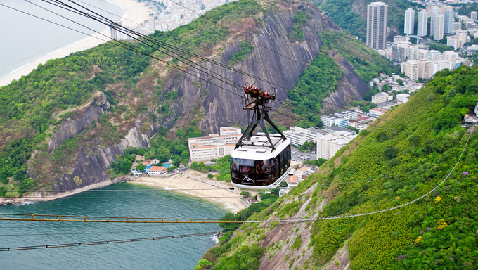 The cable car to Sugar Loaf in Rio de Janeiro, Brazil.