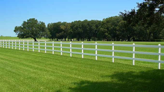 White fence around Oak Alley Plantation in Louisiana.