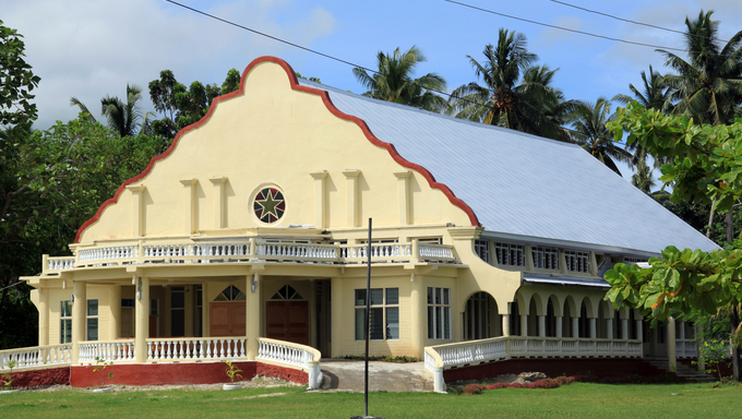 Big new church on Savaii island, Samoa
