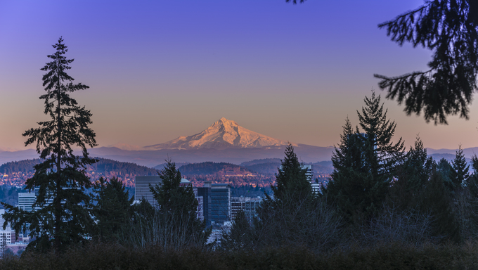 Mt. Hood at Sunset with Portland City Center.