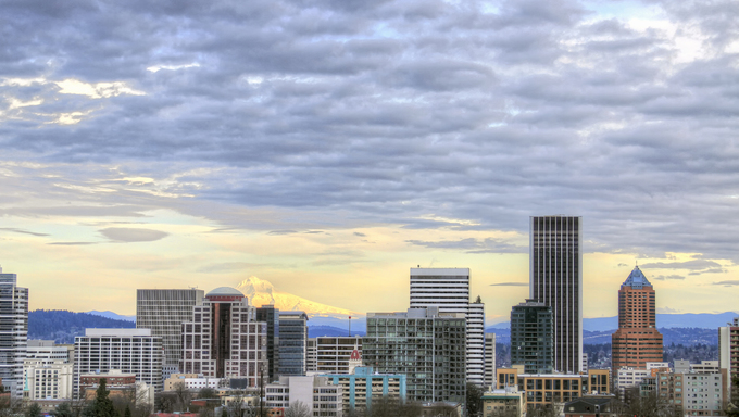 Portland Oregon Downtown Skyline from the Vista Bridge.