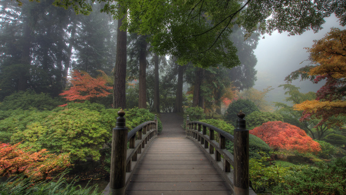 The Bridge in Portland Japanese Garden in the Fall.