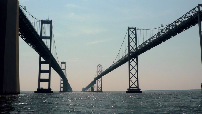 A close up of the Chesapeake Bay Bridge of Maryland.