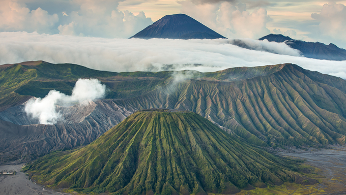 Mount Bromo and Batok volcanoes in Bromo Tengger Semeru National Park, East Java, Indonesia.