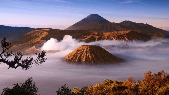 Mount Bromo volcanoes taken in Tengger Caldera, East Java, Indonesia.