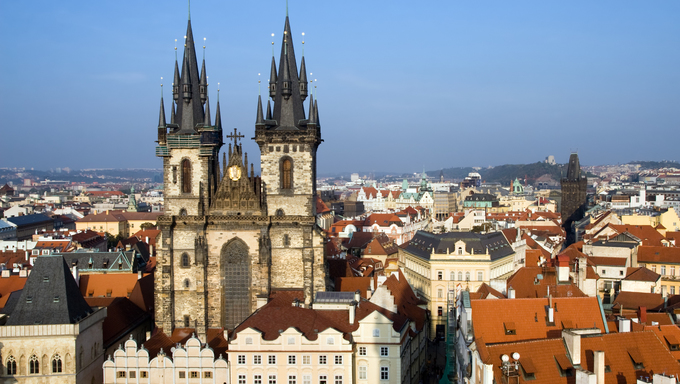 Church of Our Lady before Tyn and view over the Old Town In Prague, Czech Republic.