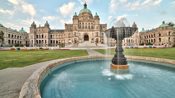 Parliament building with fountain in Victoria, BC.