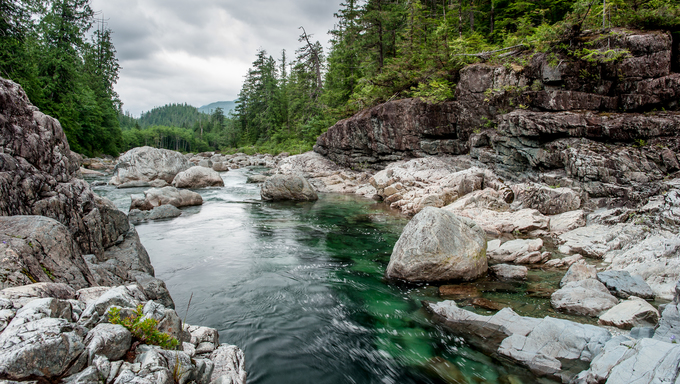 Small river on Sutton Pass, Vancouver Island, Canada.