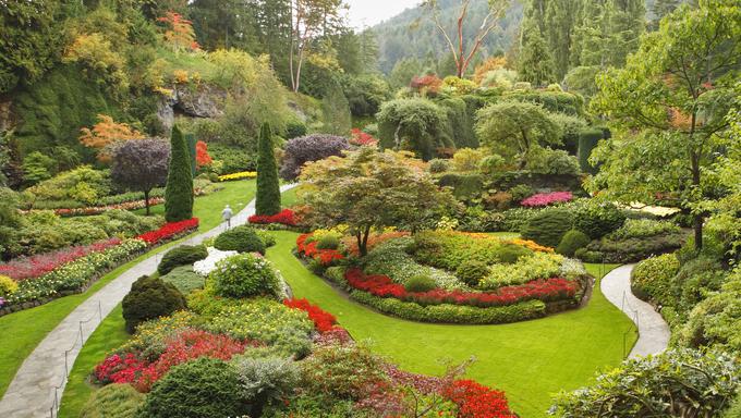 Masterpiece of landscape gardening art. Sunken garden on island Vancouver.