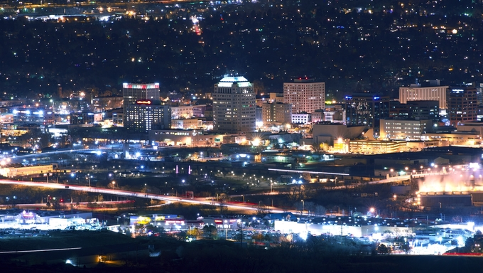 City of Colorado Springs Skyline at Night. Downtown Colorado Springs, Colorado, United States.