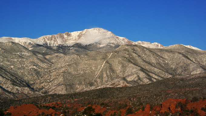 Pikes Peak mountain range from Garden of the Gods in Colorado Springs