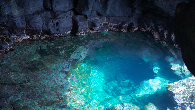 Inside view of cave in rising sal santa maria cape verde