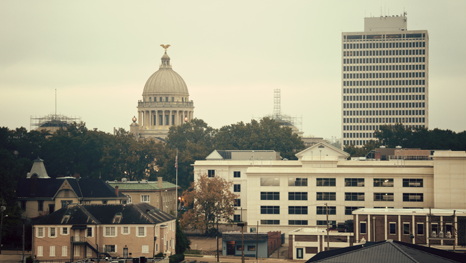 Jackson, Mississippi vintage panorama. State Capitol Building on the left.