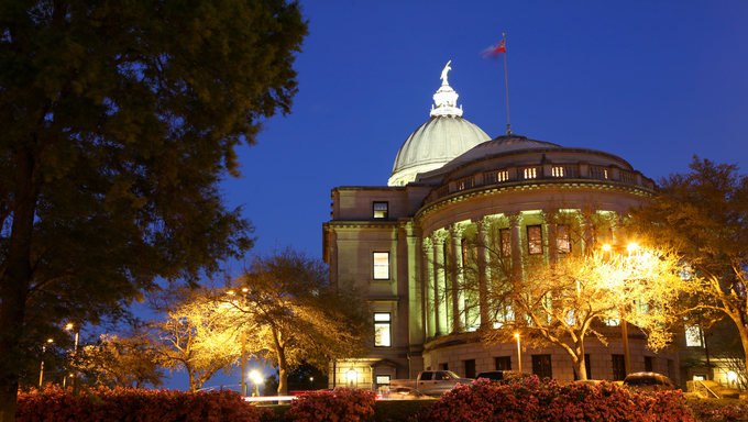 A view of the Mississippi capitol building at night.