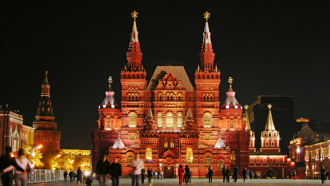 Famous Red Square and Historic Museum at night, Moscow, Russia.