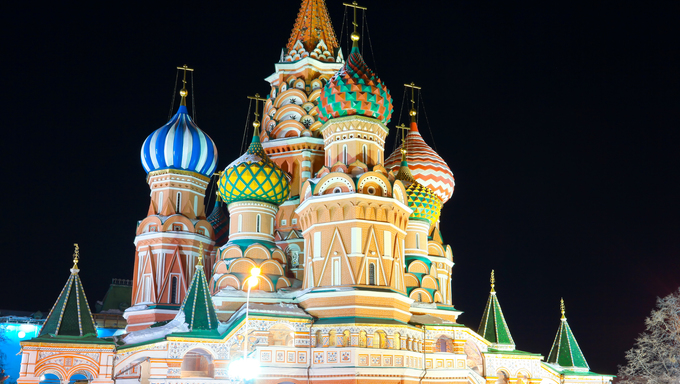 Saint Basil's Cathedral at night, Red Square, Moscow, Russia.