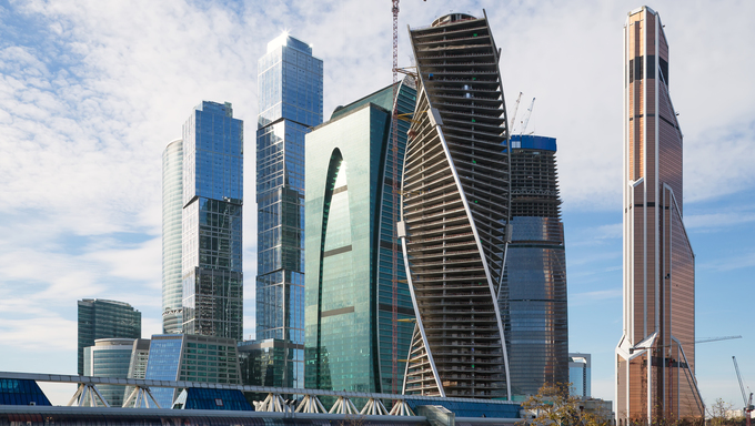 Skyscrapers of the International Business Center in Moscow, Russia.