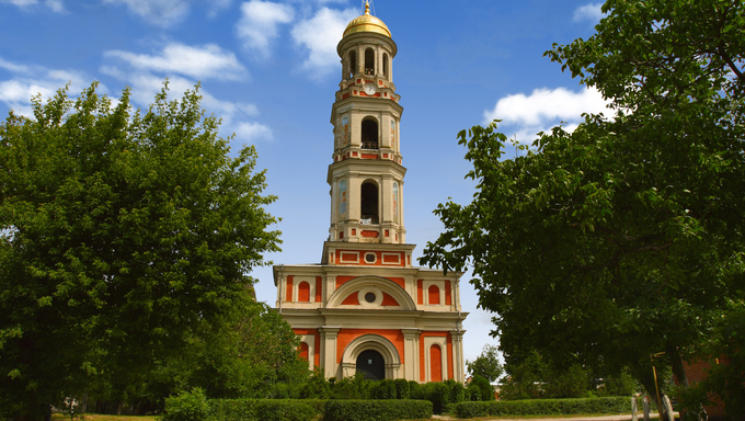 Monastery bell tower. Chitcani.  Transnistria. Moldova.