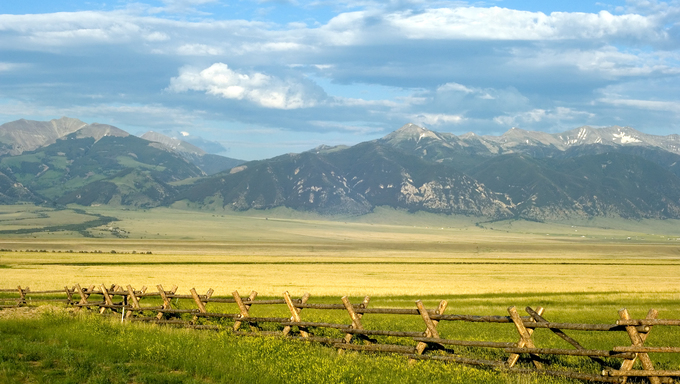 A view of the great Montana mountains from a cattle ranch.