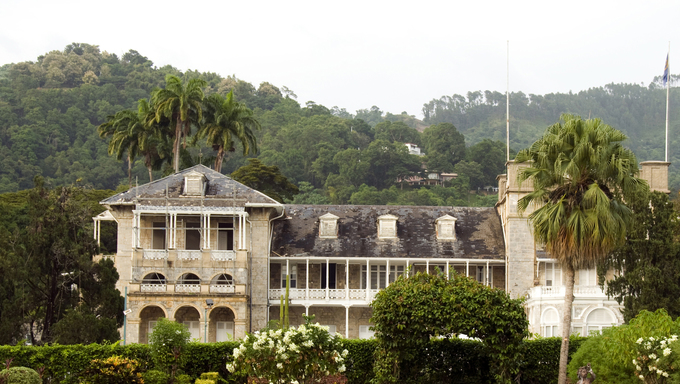 the presidential palace residence and beautiful tropical garden on queen's park savannah port of spain trinidad and tobago