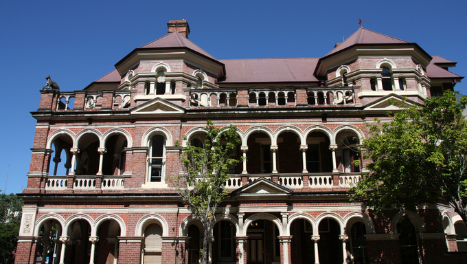 The Mansions - heritage listed group of six 3-storied terrace houses located on the corner of George Street and Margaret Street, Brisbane, Queensland, Australia