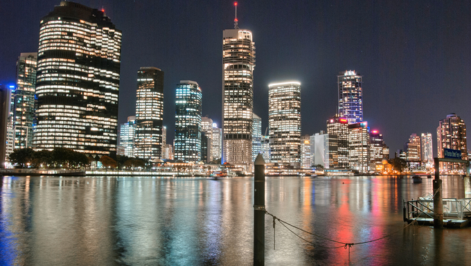 Brisbane, Australia. Beautiful night city skyline with river reflections.