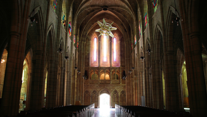 Dark gothic revival St. John's Cathedral in Brisbane, Queensland, Australia.