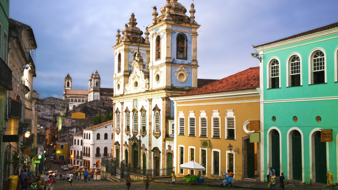 Church or Iglesias Rosario dos Pretos in Pelourinho area in the beautiful city of Salvador, Bahia, Brazil.