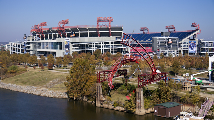 Nashville, Tennessee, USA. LP Field in downtown of Nashville, Tennessee. LP Field is a football stadium and home to Tennessee Titans - NFL team. The stadium was opened in 1999 and can seat 68800 people.