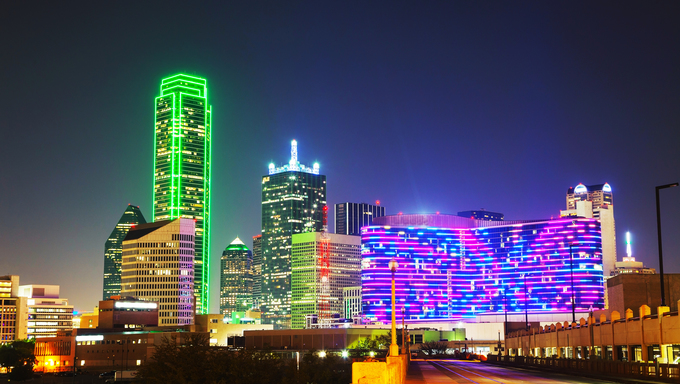 Dallas, Texas cityscape at the night time.